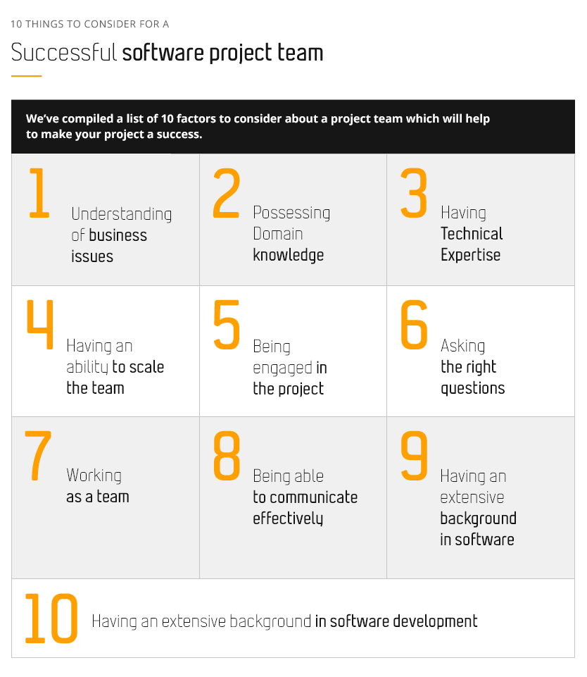 10 things to consider for a Successful Software Project Team